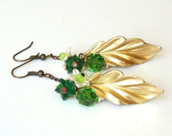 Green Bouquet - EARRINGS - secret garden series with vintage parts