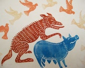 Wolf Loves Pig, original linocut print on bamboo paper
