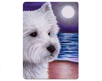 Fridge Magnet Print ACEO from my original painting Dog 81 Westie by Lucie Dumas