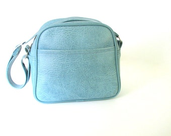 Vintage 1970s Blue Soft Sided Train Case Luggage