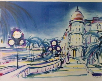Vintage Framed Picture - Cannes : le Carlton by Pierre Bellier; Signed and Numbered Lithograph - Blue Art