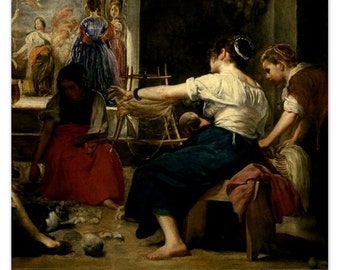 Detail from The Spinners (The Fable of Arachne) by Velazquez - a Frameable Vintage 1954 Art Print