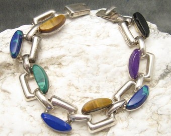 Vintage Sterling Gemstone Bracelet Unusual Jewelry B5493