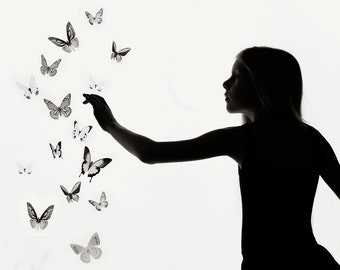 15 3D Black and white Butterfly wall Art made with plastic