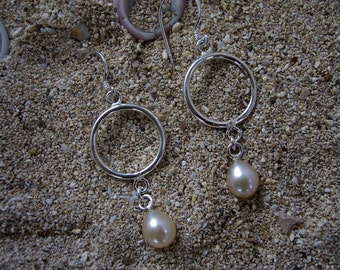 Silver Pearl Earrings, Pearl Earrings