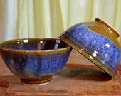 Rice bowl ceramic, stir fry asian cusine stoneware, glazed in caramel brown sapphire blue, handmade by hughes pottery