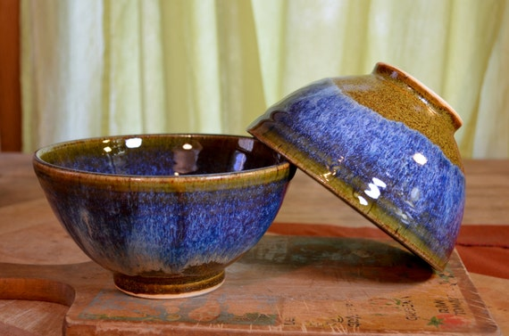 Rice bowl ceramic, stir fry asian cusine stoneware, glazed in caramel brown sapphire blue, handmade by hughes pottery