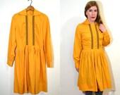 Mustard Yellow Dress - 60s Dress - Long Sleeve Dress - Mustard Dress