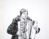Xylophonist in Prague - Original Drawing