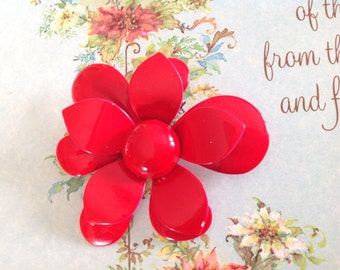 sixties flower power hippy red brooch.