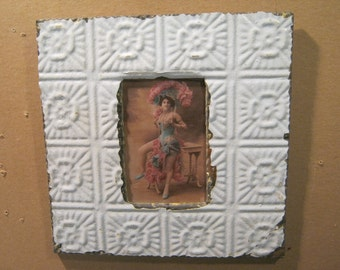 Authentic Recycled Tin Ceiling 4x6 Baby Blue Picture Frame Reclaimed Photo  S1535-13