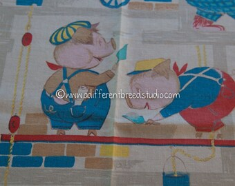 Animals at Work  - Vintage Fabric Whimsical Pigs Monkeys Giraffes Mice Rabbits and more