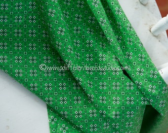 Green Bandana Print -Vintage Fabric Mod Juvenile Cowboy Cowgirl 60s 50s 36 in wide New Old Stock