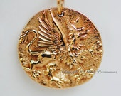 Ancient Griffin Coin Necklace - Natural Bronze Charm Pendant - 14K Gold Filled Delicate Chain - Insurance Included