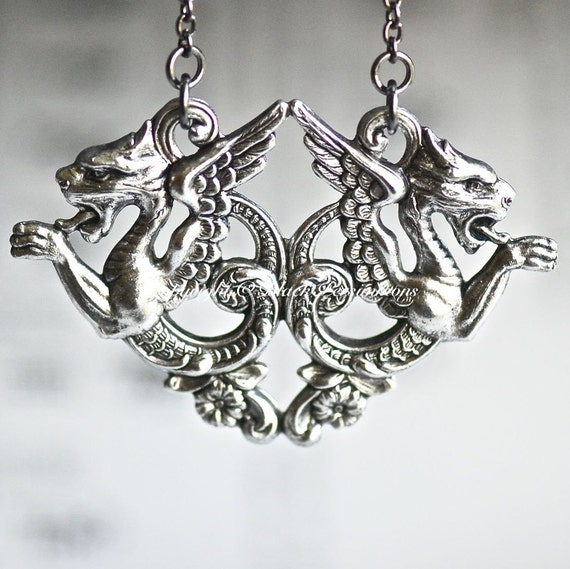 NEW - Double Dragons Necklace - Medieval Victorian Made in USA Stampings