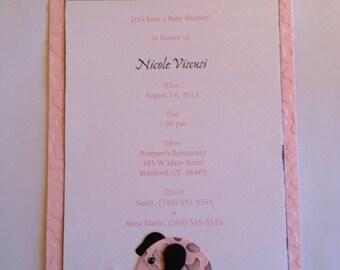 little pink elephants baby shower invitations