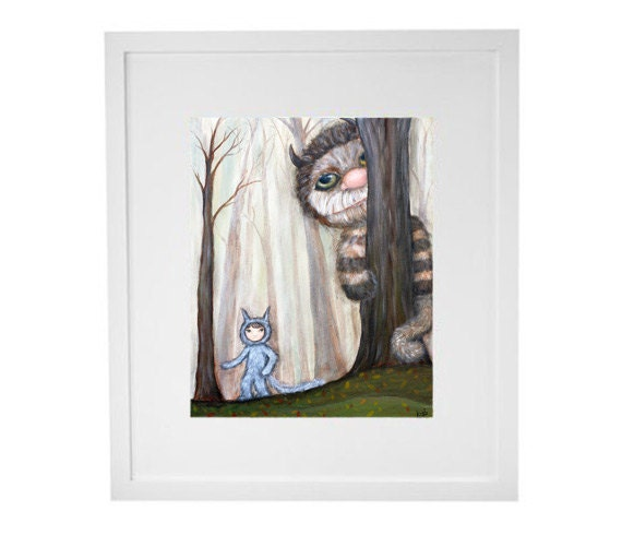 Kids Room Wall Art - Wild Things in the Woods giclee print from original painting, children's art nursery decor