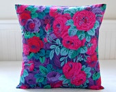 cerise pink purple green mint roses cushion cover , 18 inch decorative pillow cover