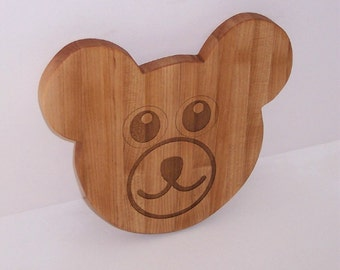 Teddy Bear Head Cutting Board, LASER engraved