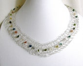 Crocheted  Argentium Silver Collar Necklace with Assorted Gemstones  RKS 366