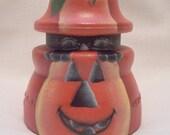 Jack o Lantern, Black Cat, Vintage Insulator, Hand Painted