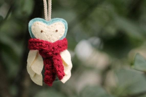 Owl Felt Ornament with Red Scarf // Aqua Tiffany Blue // Woodland Christmas Ornament // Door Hanger by OrdinaryMommy on Etsy