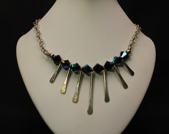 Black Crystals and Silver Necklace