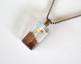 Eagle Bird Jewelry Necklace Rectangle American Bald Eagle Art Glass Antique Brass