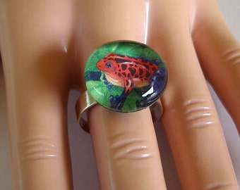 Red Strawberry Poison Dart Frogs Ring Adjustable Art Glass Silver Plated base
