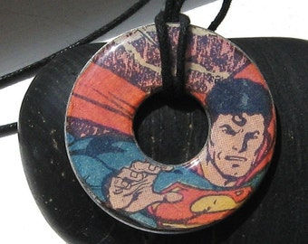 SUPERMAN Upcycled Papers Washer Hardware Pendant Necklace DC Comics