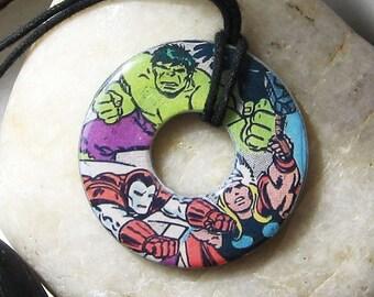 HULK Iron MAN THOR Vintage Comic Book Upcycled Washer Pendant Necklace Marvel Comics