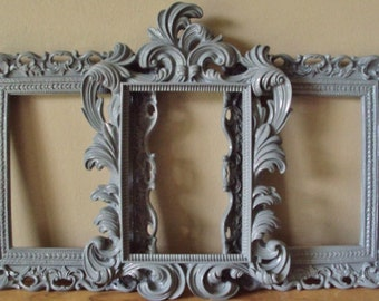Picture Frames Paris Beach Cottage Shabby Chic 3 Frames Wall Gallery Soft Pastel Gray Open Frames Baroque Wedding Home Decor Baby Farmhouse