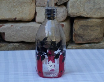 Hand Painted Bottle with Apple Blossoms and Free Flowing Spout