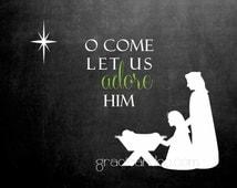 Christmas notecards chalkboard christmas notes nativity Christmas cards