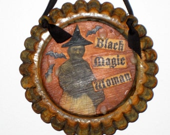 Halloween Witch Ornament Made from Vintage Tart Mold - Black Magic Woman