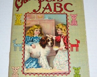 Vintage Alphabet Book - Our Pet's ABC - Black and White Illustrations
