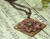 Gold, Copper Flower Pendant Necklace