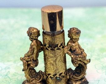 Vintage Gold Brass Filigree Cherub Perfume Bottle