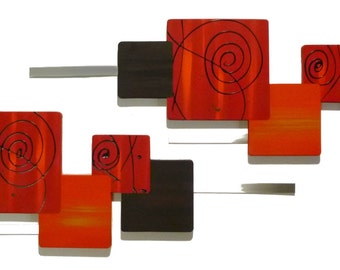 "Set of 2 Red Orange Fancy Swirl-Warm Autumn decor-Wood with Metal Wall Sculpture-handmade, custom, Wall Decor-Wall Art- 52""x18"" by Alisa"