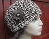 35% Womens Crochet Beanie Hat Brown Wool Recycled Flower