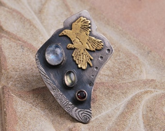 Sterling Silver and brass magpie ring with Moonstone, labradorite and Garnet, gemstone jewel shield ring