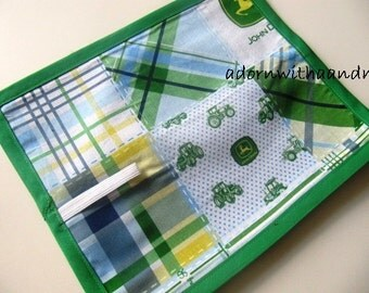 Chalkimamy TRAVEL chalkboard mat/ placemat made with licensed blue plaid John Deere fabric (a)
