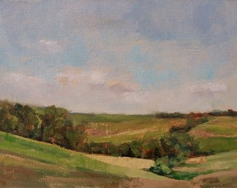 Original Plein Air Painting by Kathleen Coy. Iowa Landscape.