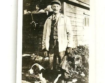 Vintage Snapshot Photo Man Hunter With Beagle Hunting Dog By Wooden Garaage Sports Photograph