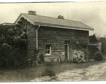 Antique Photo Primitive Century Old Stone Farm House Vintage Photograph