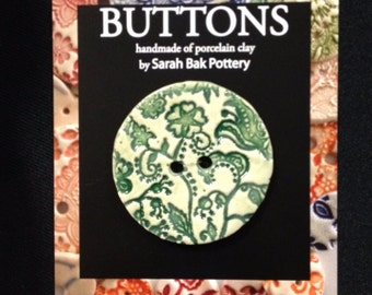 Extra large porcelain button, floral paisley texture in dark green