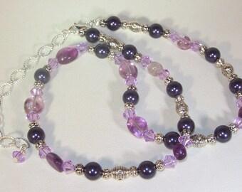 Gemstone, Swarovski Pearl & Crystal Jewelry - Rainbow Fluorite Necklace - Purple