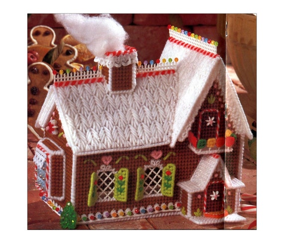 gingerbread house plastic canvas needlepoint pattern christmas