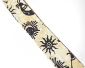 Neck Cooler Cool Tie with Black Suns and Kokopelli on Tan in Southwest Style
