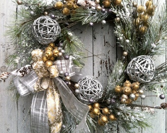 Silver and Gold Christmas Wreath - Wreath For Christmas Door - Silver and Gold